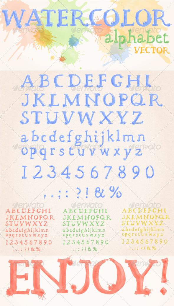 Watercolor Alphabet - Decorative Vectors