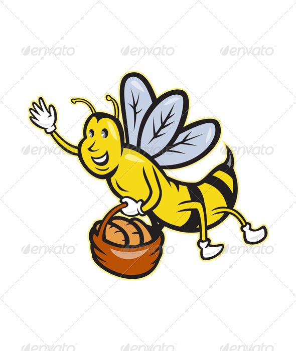 Bee Carrying Basket of Bread - Animals Characters