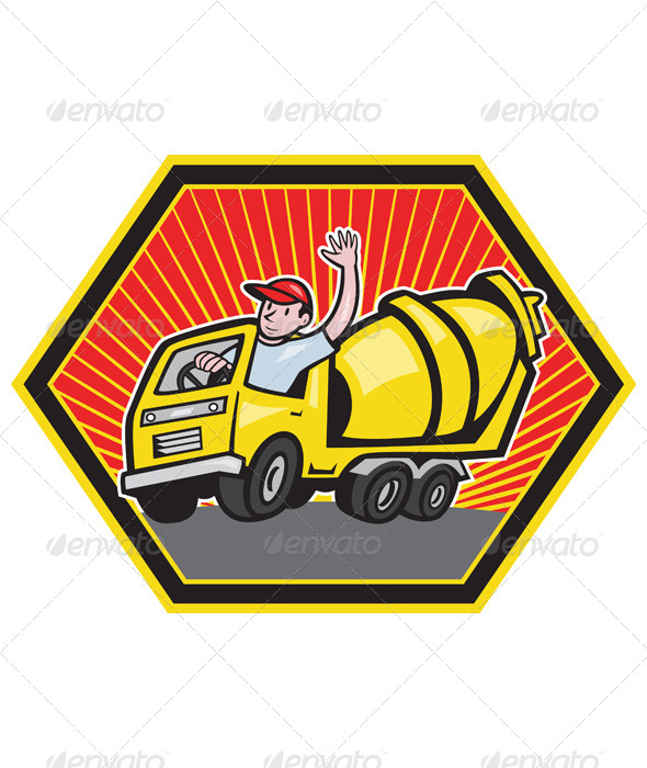 Construction Worker Driving Cement Mixer Truck  - People Characters