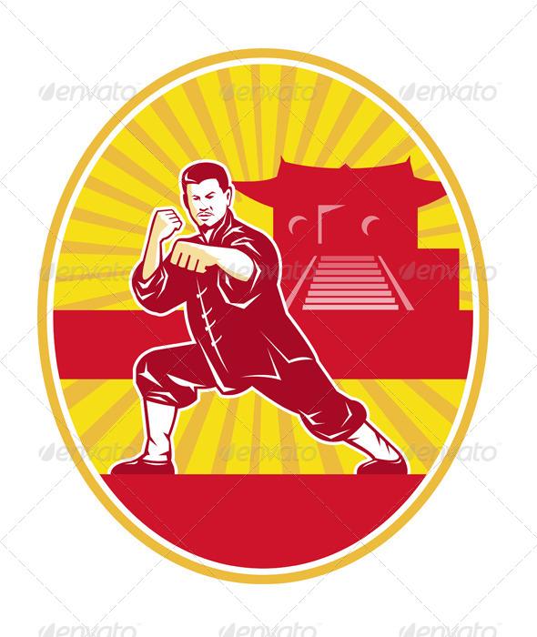 Shaolin Kung Fu Martial Arts Master Retro - People Characters