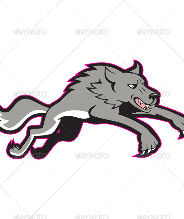 Gray Wolf Jumping Attacking - Animals Characters