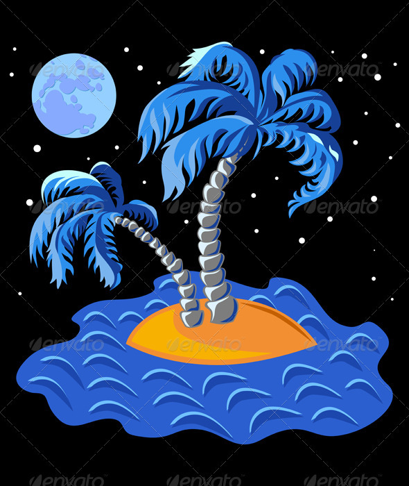 Vector two palm trees on an island in the ocean at - Landscapes Nature