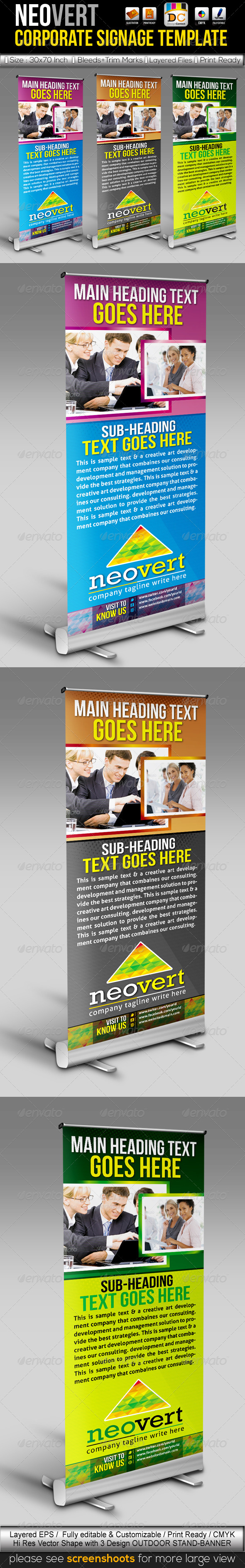 NeoVert Out-Door Stand Banner Sinage Templates  - Signage Print Templates