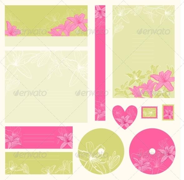 Set of Wedding Invitations - Decorative Symbols Decorative