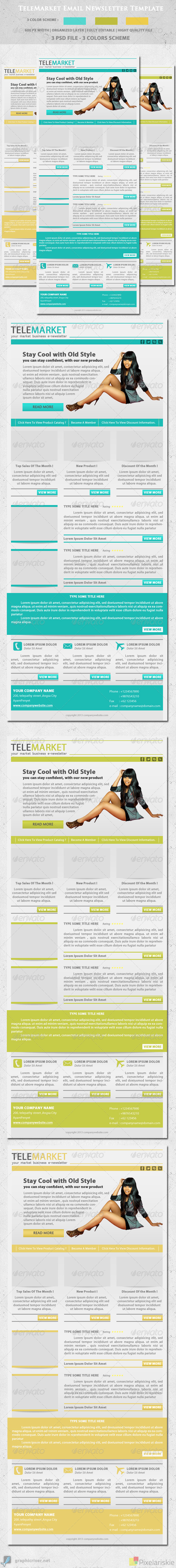 Telemarket Email Newsletter Template - E-newsletters Web Elements