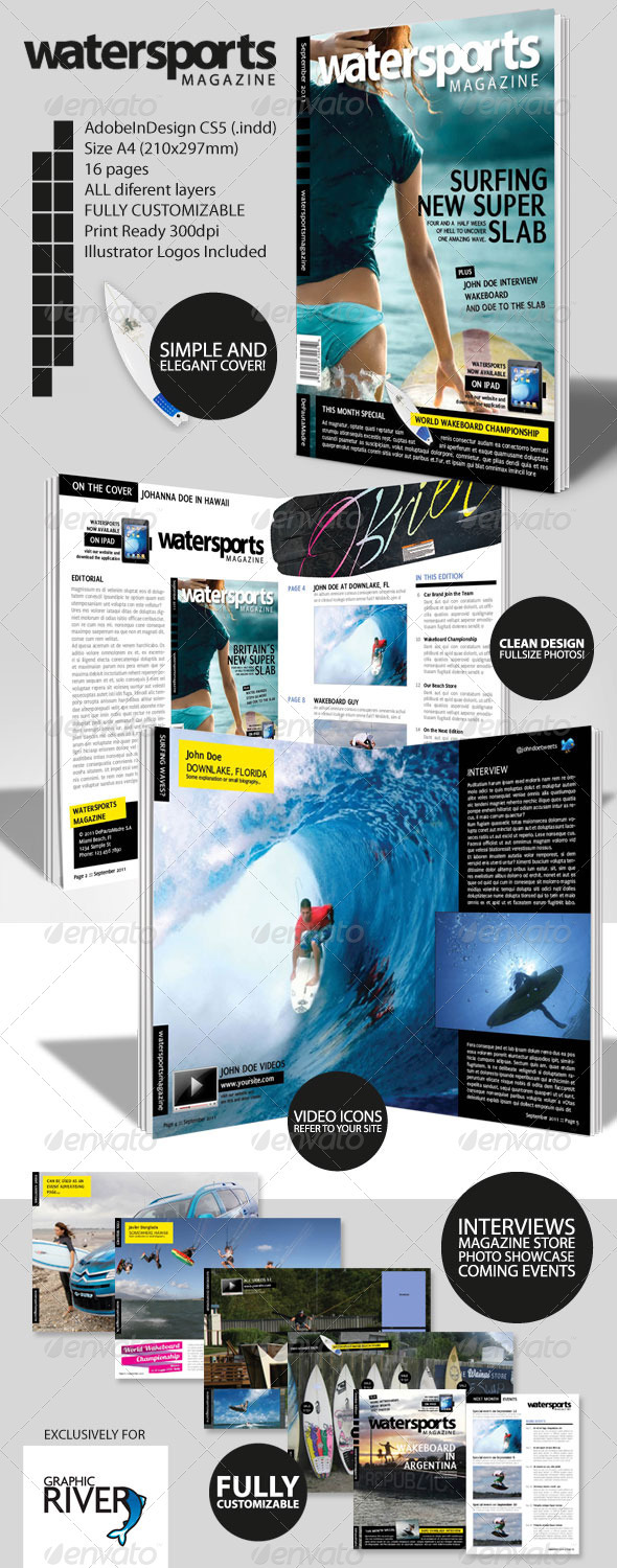 WaterSports Indesign Magazine Template - Magazines Print Templates