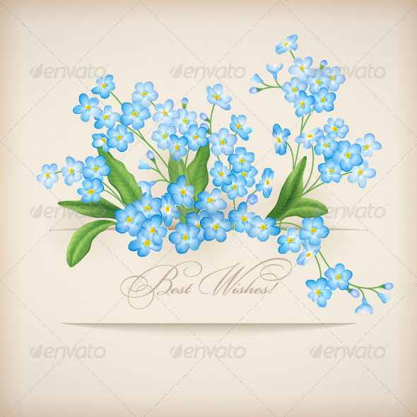 Blue Spring Flowers Forget-me-not Greeting Card - Flowers & Plants Nature