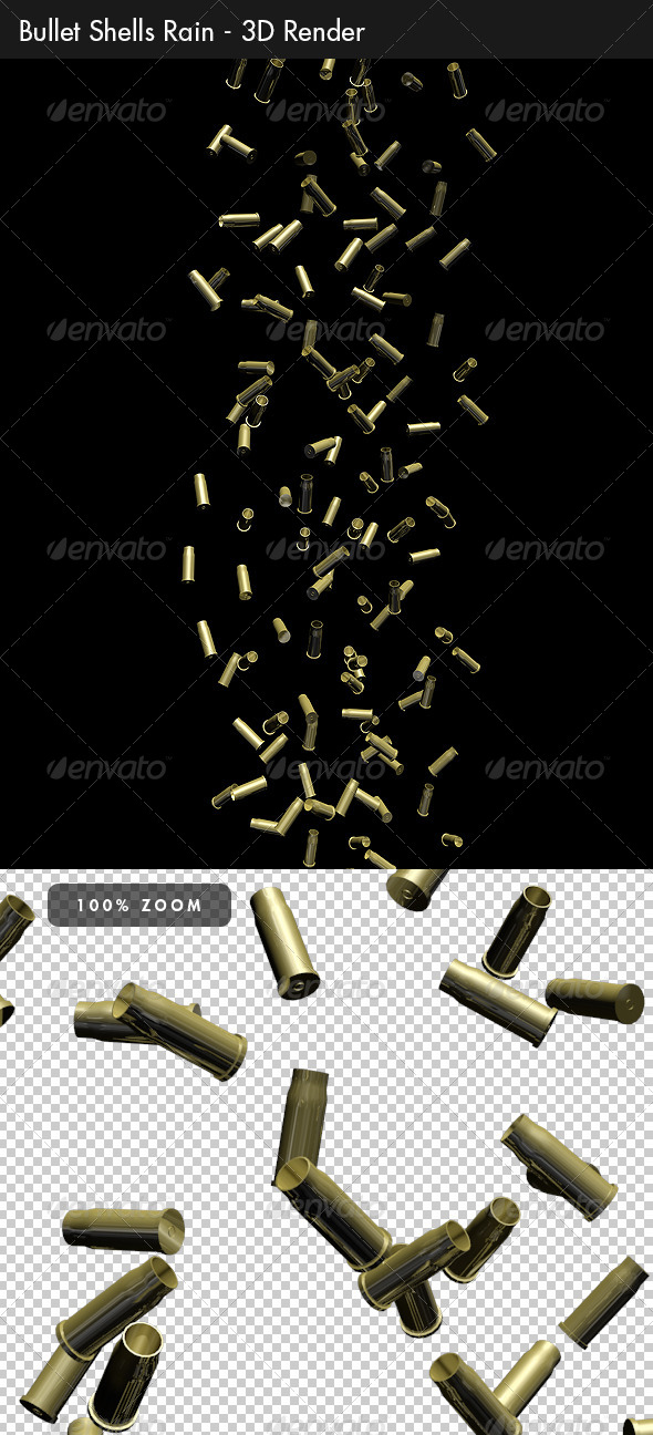Bullet Shells Rain - Objects 3D Renders