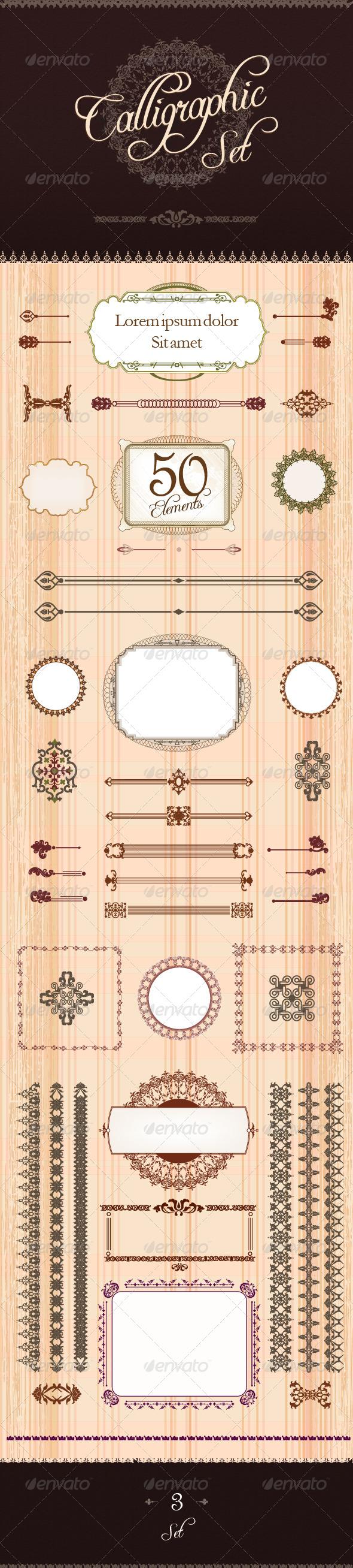 Calligraphic Design Set 3 - Flourishes / Swirls Decorative