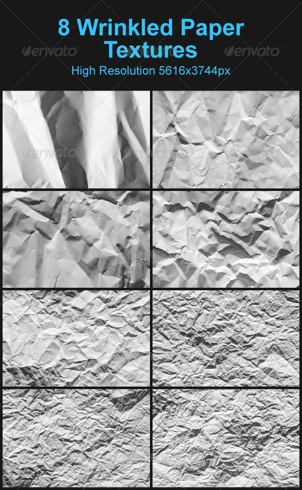 8 White Wrinkled Paper Textures - Paper Textures