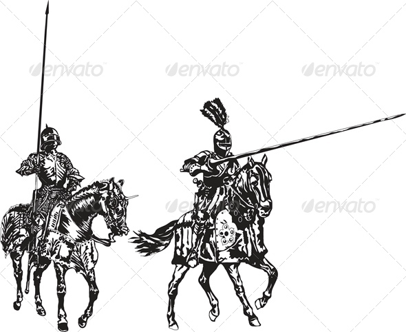 Two Knights on Horses - People Characters