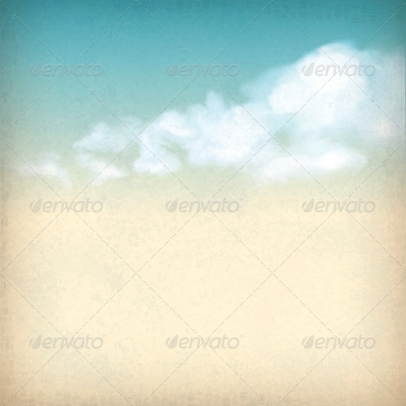 Vintage Sky Clouds Old Paper Textured Background - Nature Conceptual