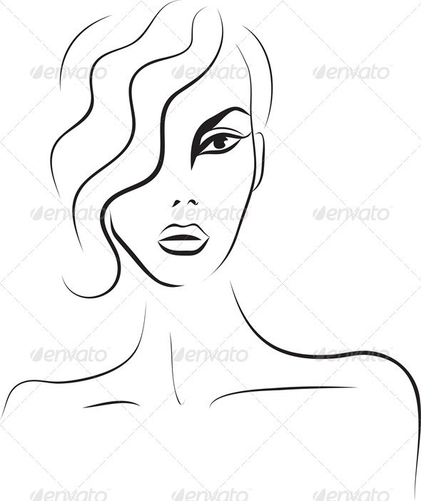 Beautiful Woman Face. Fashion Sketch - People Characters
