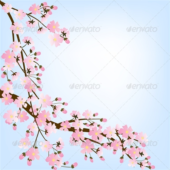 Spring Background with Blooming Tree  - Miscellaneous Seasons/Holidays