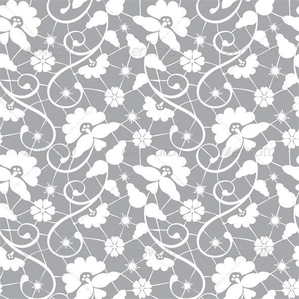 Seamless Lace Pattern on Grey Background - Backgrounds Decorative