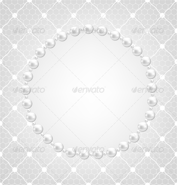 Pearl Frame and Lace Background  - Backgrounds Decorative