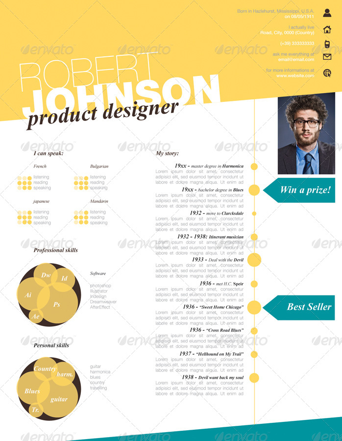 Stylish One Page Cv Resume By Gianlucacarraro86 | Graphicriver