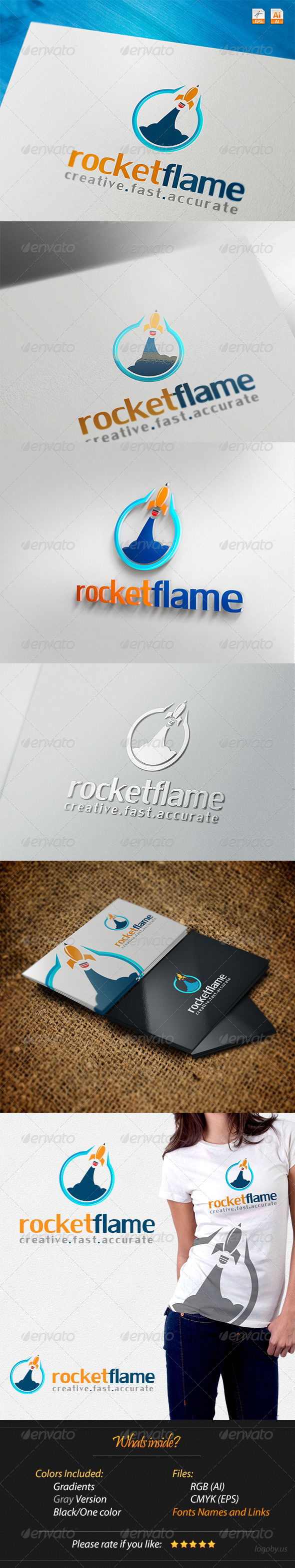 Rocket Flame Creative Fast Accurate Logo - Objects Logo Templates