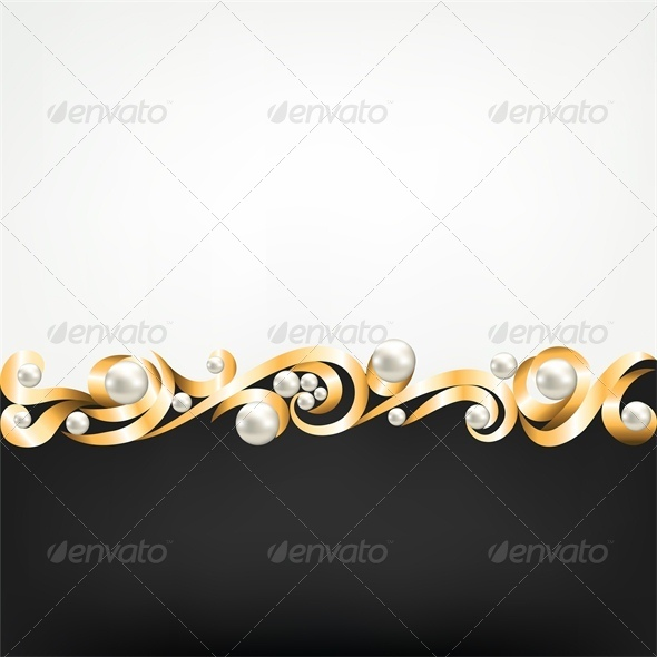 Background with Gold Jewelry Frame and Pearls - Backgrounds Decorative