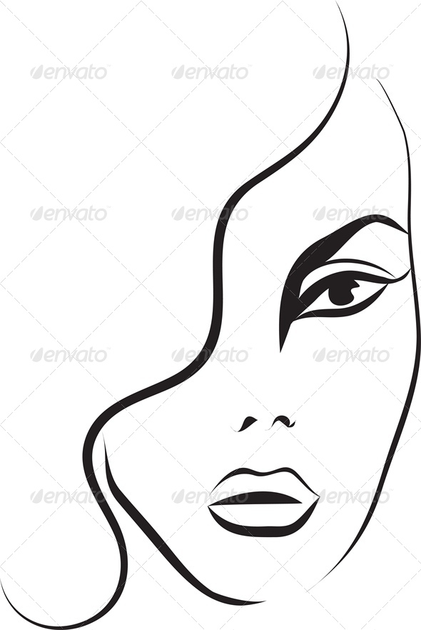 Fashion Sketch of a Woman's Face - People Characters