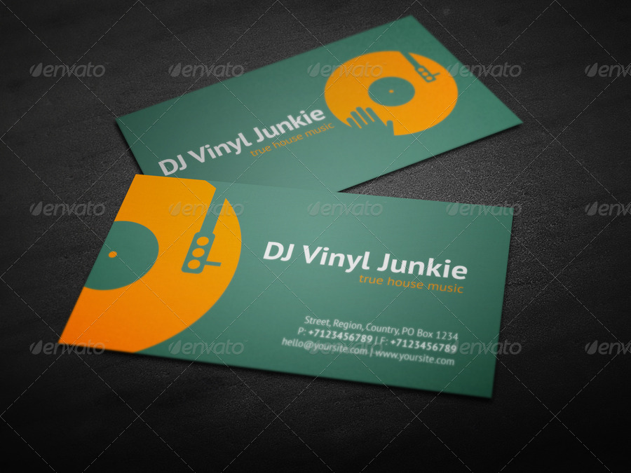 Vinyl DJ Business Card by vinyljunkie | GraphicRiver