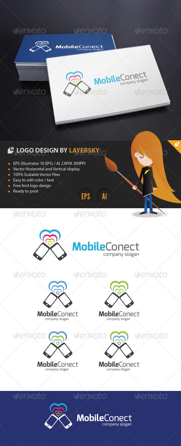Mobile Connect Logo - Objects Logo Templates