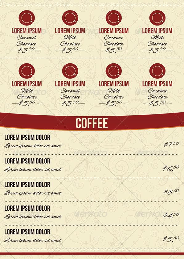 cafe tri fold a4 menu template by erseldondar graphicriver