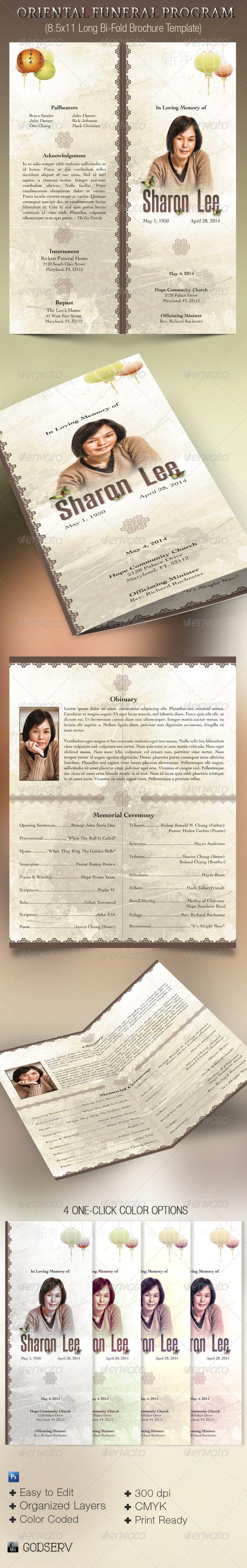 Oriental Style Bi-fold Funeral Program Template - Informational Brochures