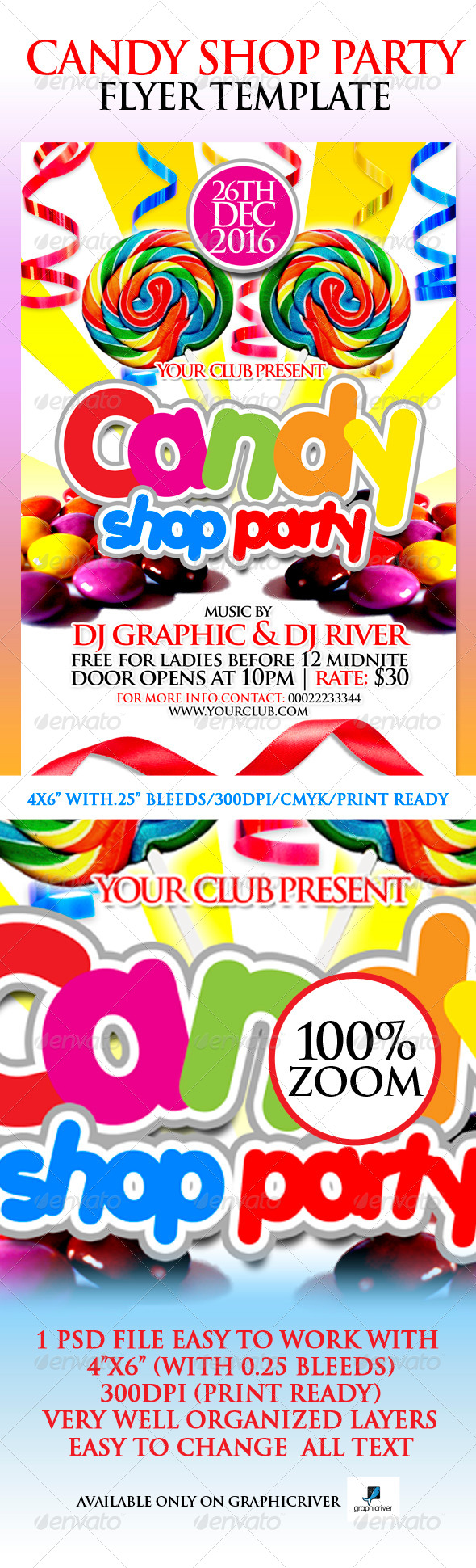 Candy Shop Party Flyer Template - Flyers Print Templates