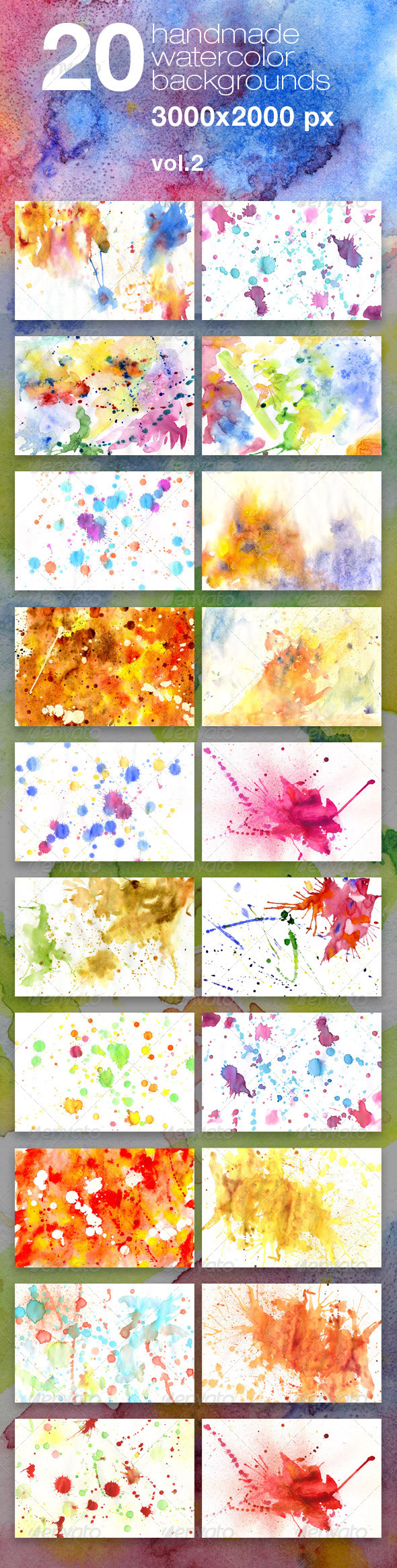20 Handmade Watercolor Texture Backgrounds - Miscellaneous Textures