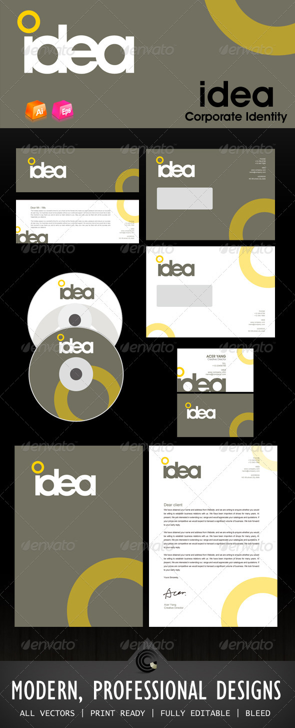 Idea Design Corporate Identity - Stationery Print Templates