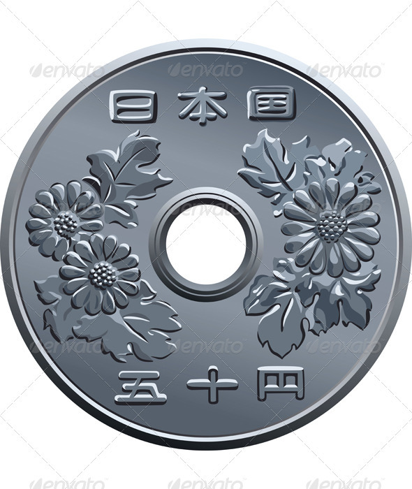 Vector Japanese fifty Yen coin  - Man-made Objects Objects