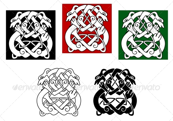 Celtic Dogs and Wolves - Decorative Symbols Decorative