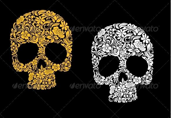 Floral Skull in Retro Style - Miscellaneous Vectors