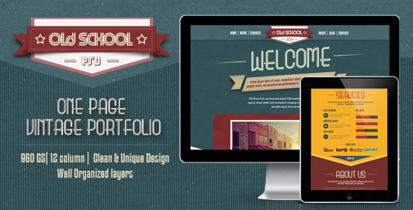One Page PSD Vintage Portfolio – Old School