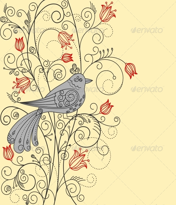 Abstract Floral Background with Bird - Miscellaneous Vectors