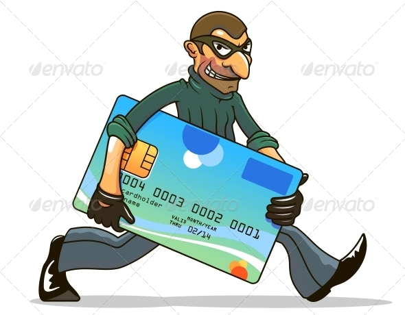 Hacker or Thief Stealing Credit Card - People Characters