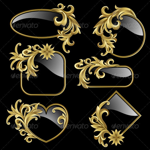 Set from golden frames  - Backgrounds Decorative