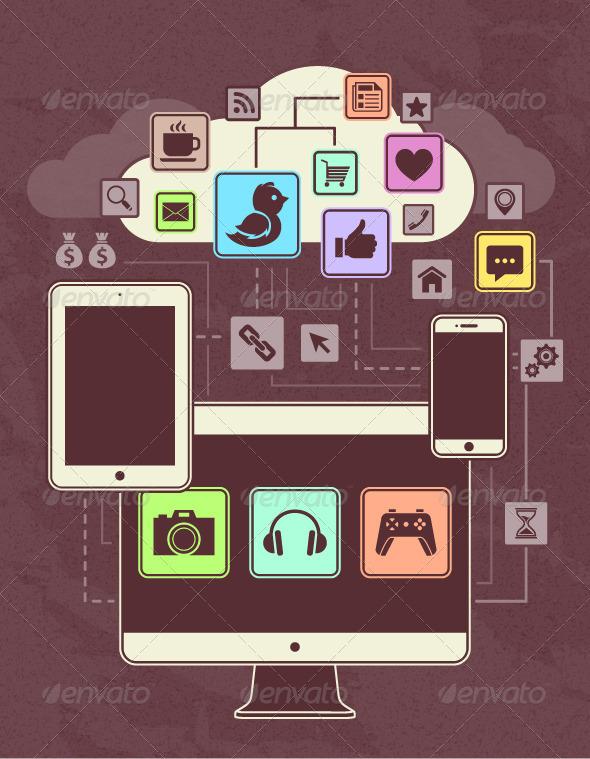 Gadgets Icons in a Network Cloud - Vectors