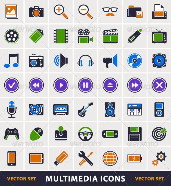 Simple Multimedia Icons - Vectors