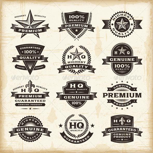Vintage Premium Quality Labels Set - Decorative Symbols Decorative