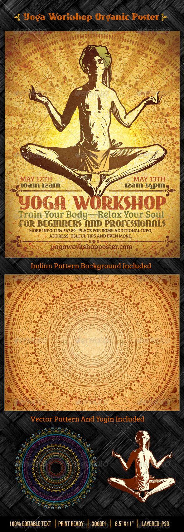 Yoga Workshop Organic Poster Template - Miscellaneous Events