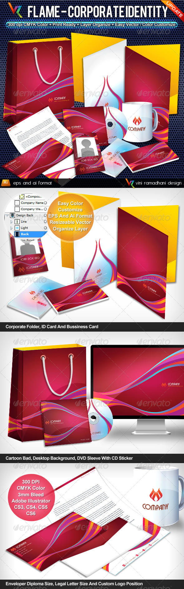 Flame Corporate Identity - Stationery Print Templates