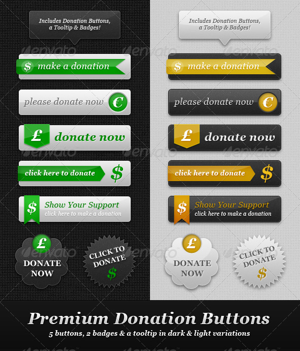 Premium Donation Buttons - Light & Dark - Buttons Web Elements