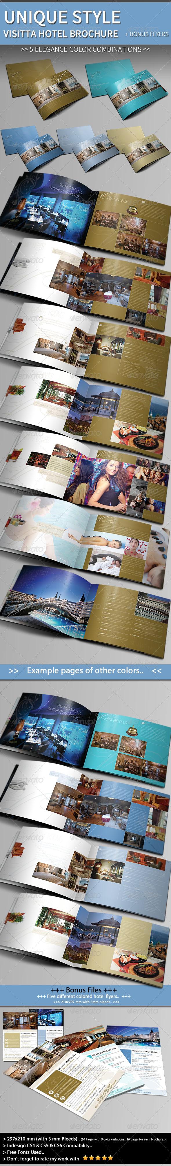 Unique Hotel Brochure Template + Bonus Flyer - Informational Brochures