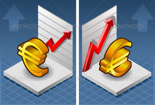 Isometric Euro Symbol with Red Arrow Up Exchange - Conceptual Vectors