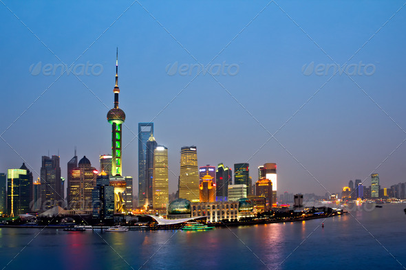 shanghai skyline at night - Stock Photo - Images
