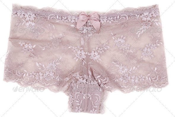 female beige lace panties - Stock Photo - Images