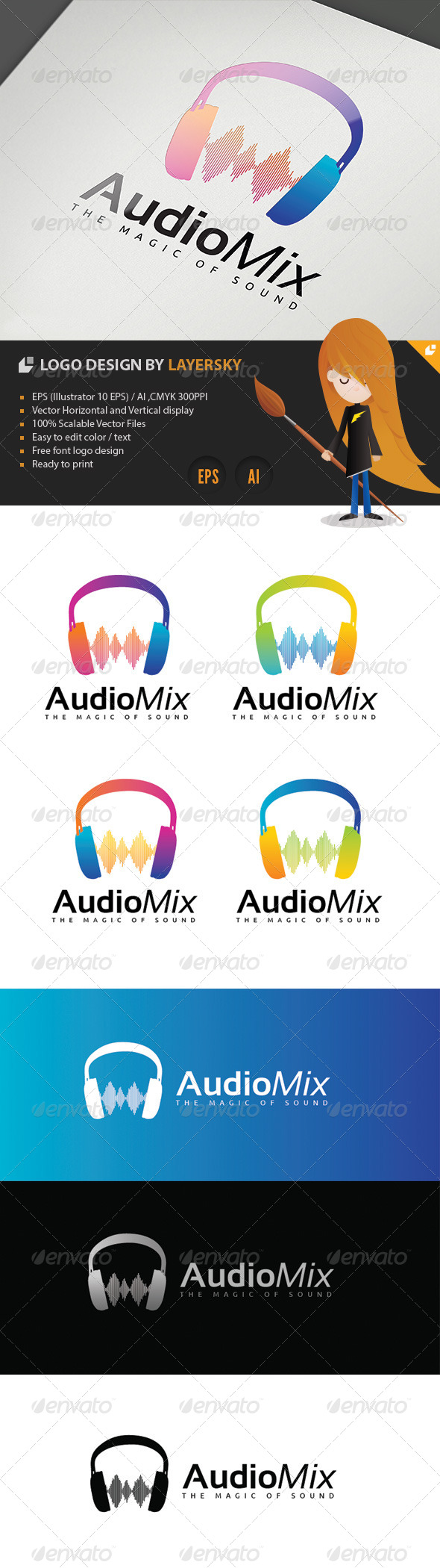 Audio Mix Logo - 3d Abstract