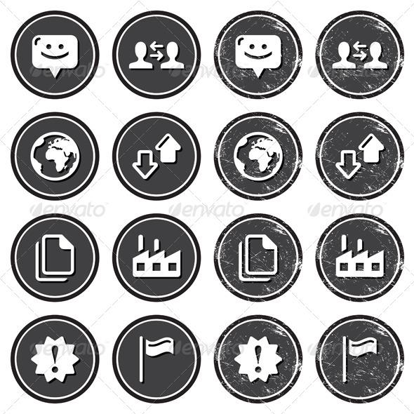 Web Navigation Icons on Retro Labels Set - Retro Technology